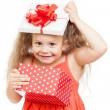 Funny child girl with gift box — ストック写真