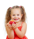 Child eating healthy food apples — Stock Photo