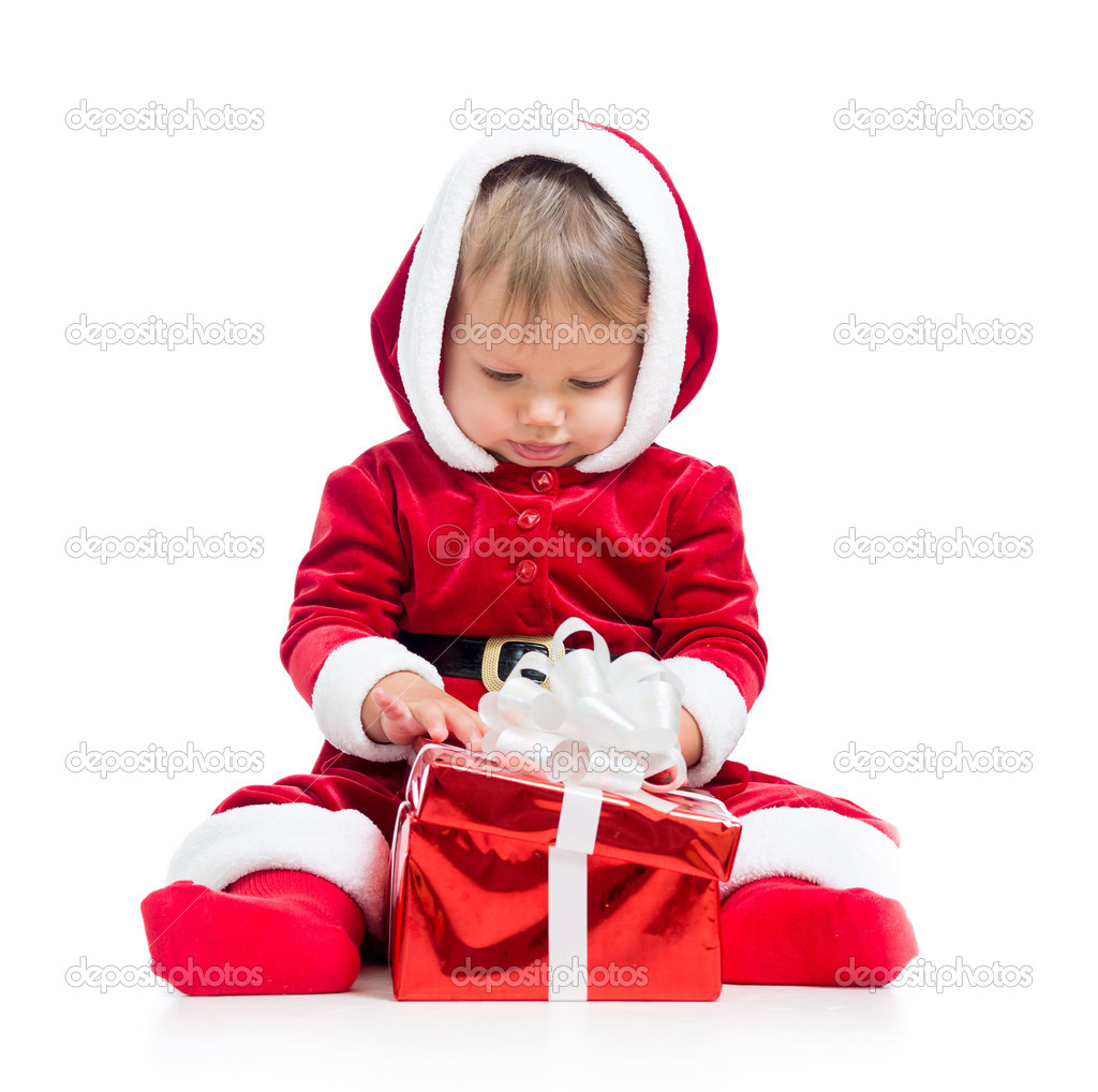 Santa Claus baby with gift box isolated on white background — Stock Photo #12653637