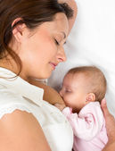 Close-up portrait of mother breast feeding her baby infant — Stock Photo