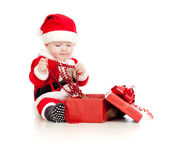 Santa Claus baby with gift box isolated on white background — Stock Photo
