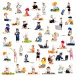 Foto Stock: Children or kids or babies playing professions isolated on white