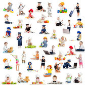 Children or kids or babies playing professions isolated on white — Fotografia Stock