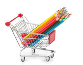 Color pencils in shopping cart — Foto Stock