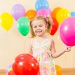 Joyful kid girl on birthday party — Stock Photo