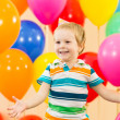 Joyful kid boy on birthday party — Stock Photo