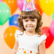 Joyful kid girl on birthday party — Stock Photo