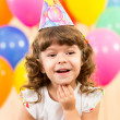 Joyful kid girl on birthday party — Foto Stock