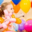 Joyful kid girl on birthday party — Stock fotografie