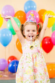 Pretty joyful kid girl on birthday party — Stok fotoğraf