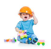 Kid playing with building blocks toy — Stok fotoğraf