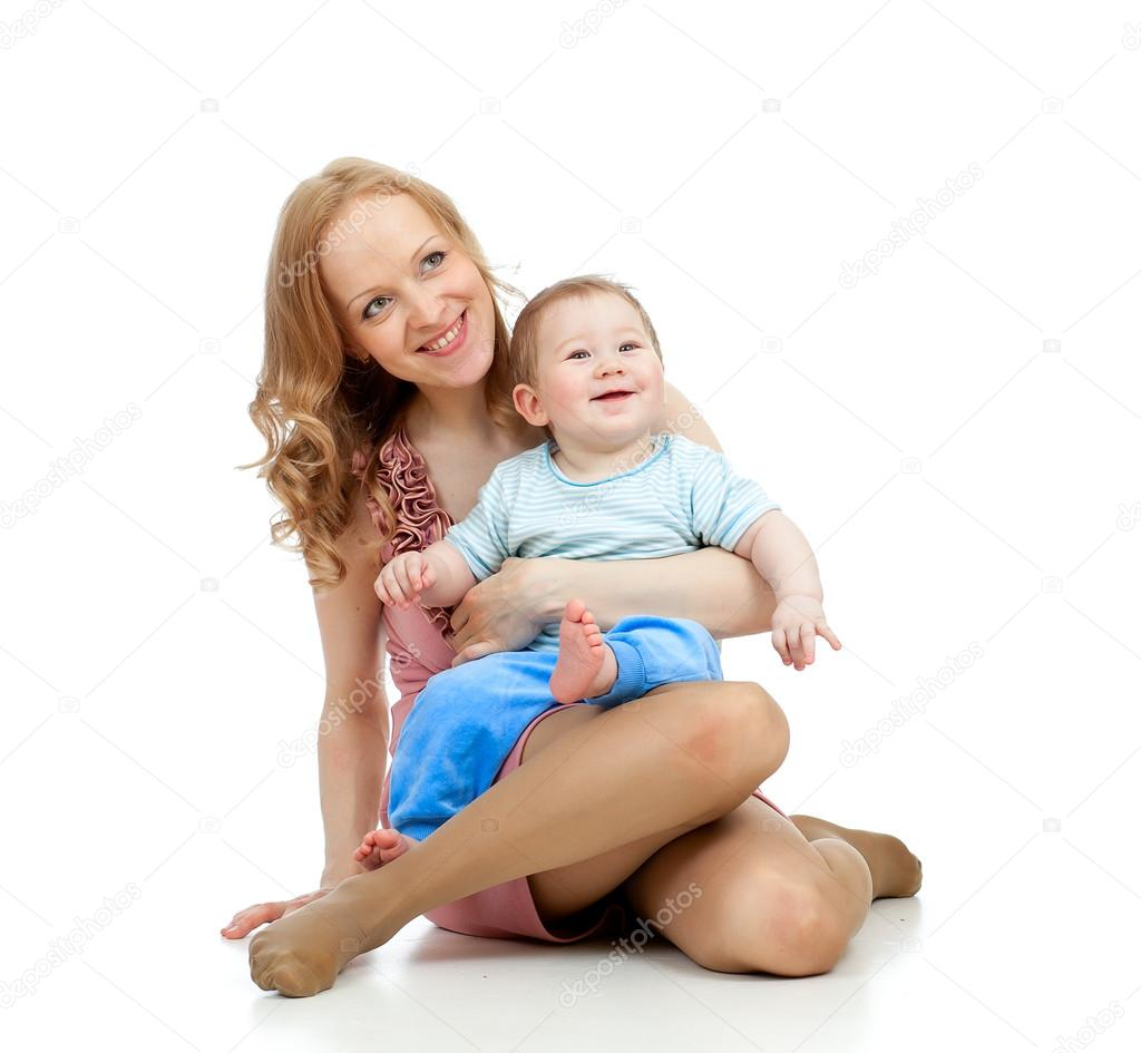 Cute mother and baby having fun pastime — Stock Photo #13471055