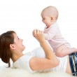 Loving mother having fun with her baby toddler — Stock Photo