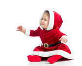 Santa Claus baby girl isolated on white background — Stock Photo