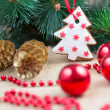 Stock Photo: Christmas tree with baubles and cake