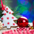 Stock Photo: Christmas tree with bauble and cake