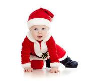 Crawling Santa Claus baby boy — Stock Photo