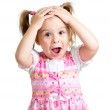 Little girl kid surprised with hands on her head isolated on whi — Stock Photo #13971362