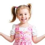 menina feliz criança lúdica no fundo branco — Foto Stock