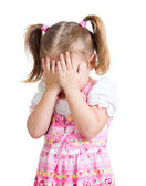 Little scared or crying or playing bo-peep girl hiding face — Stock Photo