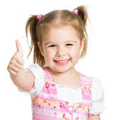 Happy child girl with hands thumbs up — Stok fotoğraf