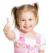 Lyckligt barn flicka med händerna tummen upp — Stockfoto