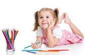 Menina criança sonhadora com lápis — Foto Stock
