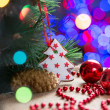 Christmas tree with bauble and cake — Stock Photo
