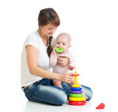 Baby girl and mother playing together — Stock Photo