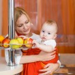child boy eating healthy food in kitchen  — Stock Photo