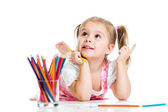 Dreamy child girl with pencils — Stok fotoğraf