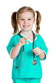 Kid girl playing doctor with syringe isolated on white backgroun — Stock fotografie