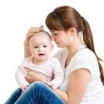 matka s holčička izolovaných na bílém pozadí — Stock fotografie