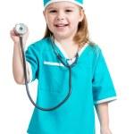 garota adorável criança uniformizada como médico isolado no branco est — Foto Stock