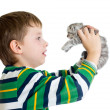 Stock Photo: Kid boy with kitten isolated on white background