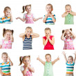 Stock Photo: Collection of kids with different emotions isolated on white bac