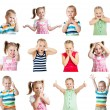 Collection of kids with different emotions isolated on white bac — Stockfoto