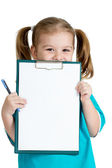 Adorable kid girl uniformed as doctor over white background — Stock fotografie