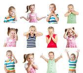 Coleção de crianças com emoções diferentes isoladas no branco bac — Foto Stock
