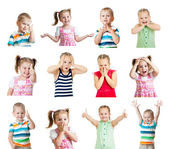 Collection of kids with different emotions isolated on white bac — Stok fotoğraf