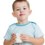 Kid drinking yogurt or kefir isolated on white — Stock Photo #19044207