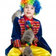 Boy clown training kittens  over the white background — Photo
