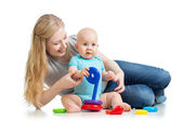 Baby boy and mother playing together — Stock Photo
