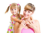 Happy mother and child girl isolated on white background — Stock Photo