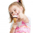 Happy kid girl eating ice cream and showing thumb up — Stock Photo #19109111
