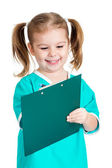 Adorable kid girl uniformed as doctor over white background — Stok fotoğraf