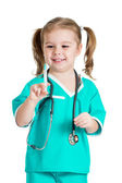 Kid girl playing doctor with syringe isolated on white backgroun — Foto Stock