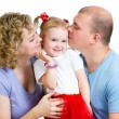 Happy family isolated on white background — Stock Photo