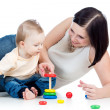 Baby boy and mother playing together — Foto Stock