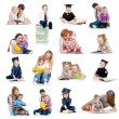 Foto Stock: Collection of babies or kids reading book. Concept of educatio
